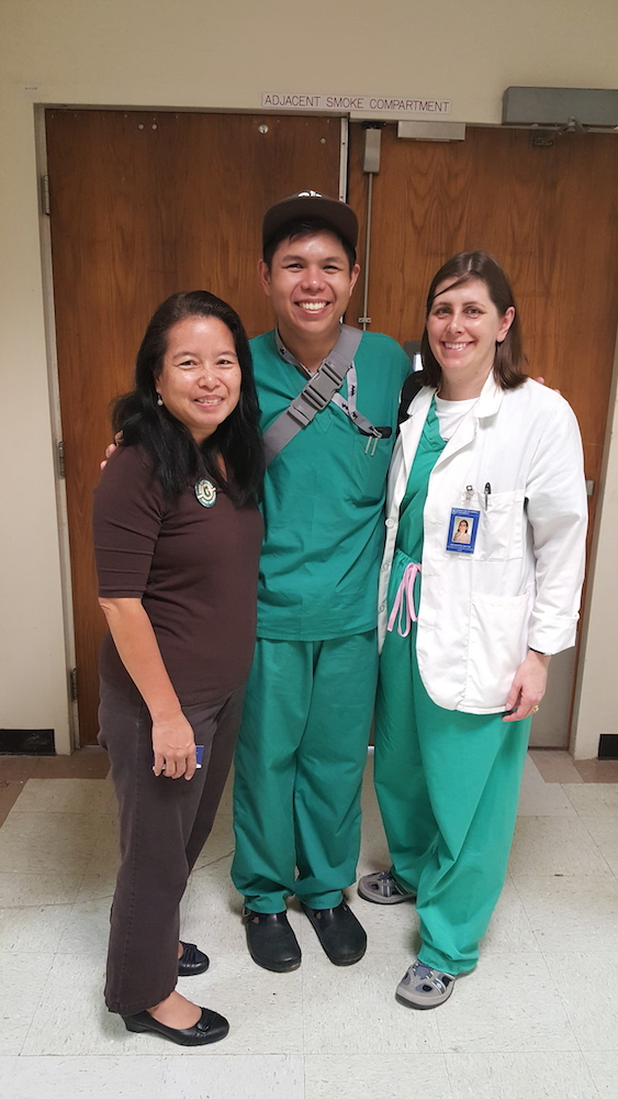 Dr. Jane Houston and Adrian Medina with Nursing Professor Guam Uni.