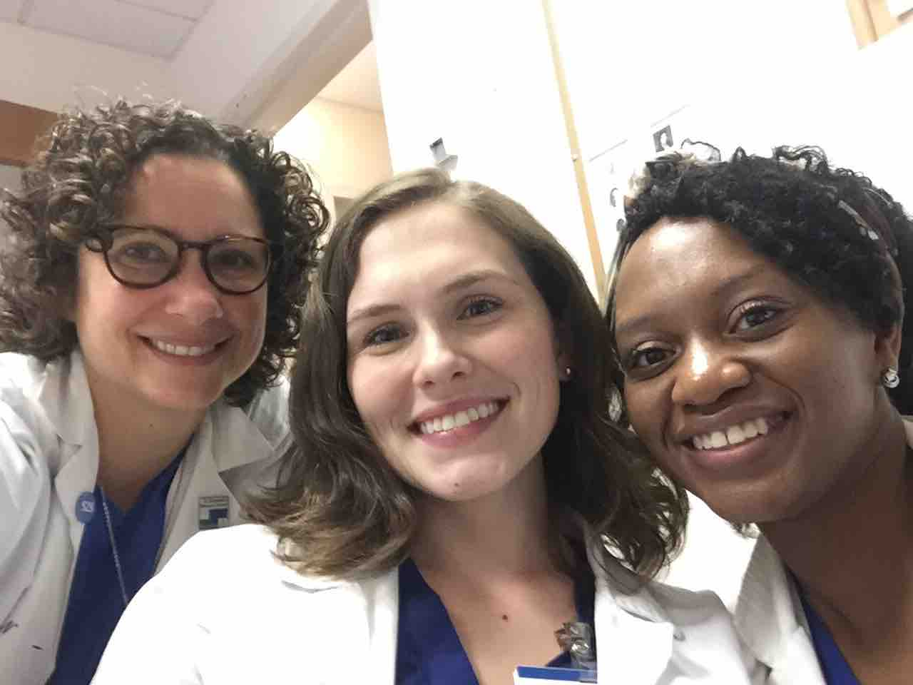 Kathryn Carr, CNM, (left) pictured with SNMs Nicole Mapes (center) and Cecile Sampson (right).